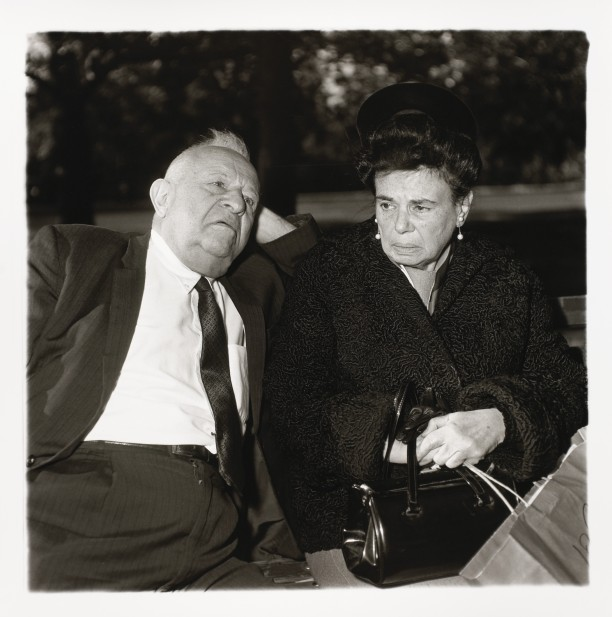 Elderly couple on a park bench, N.Y.C.