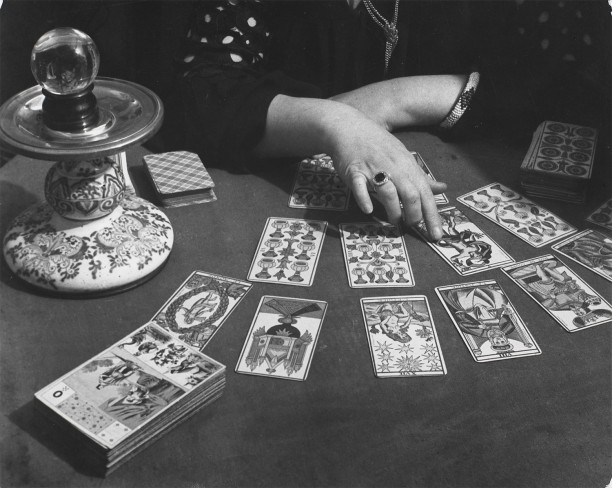 Tarot cards, crystal ball