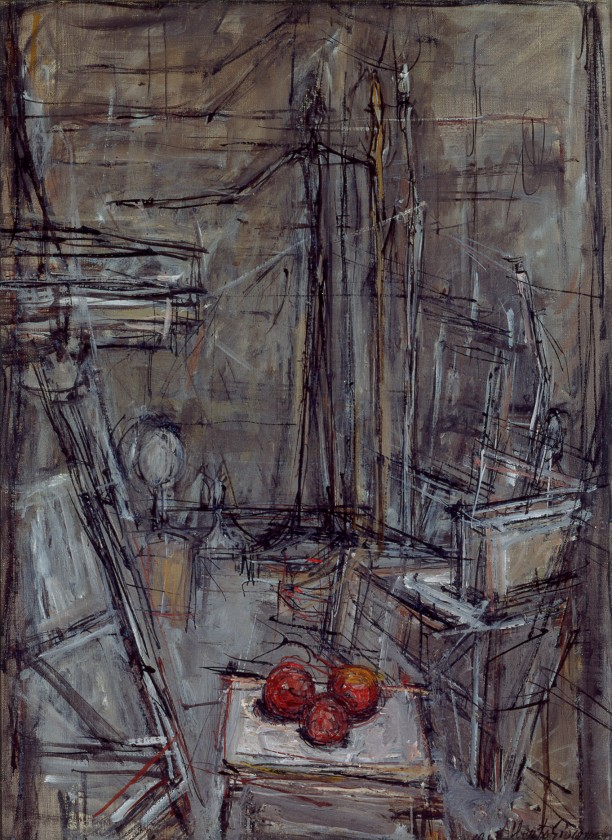 Interior Studio with Man Pointing and Three Apples