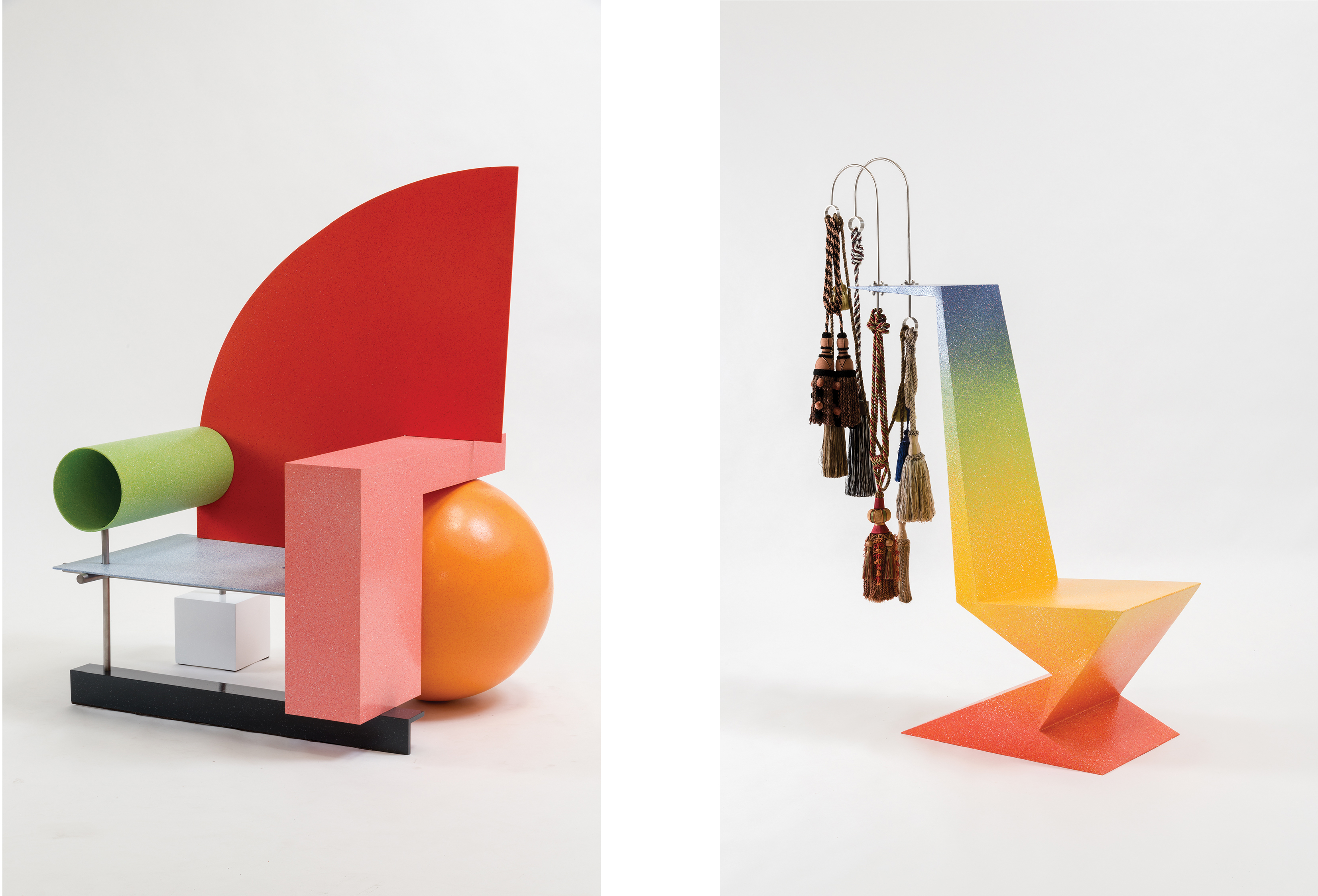 Peter Shire, Belle Aire Chair, 2010, steel and enamel, 56 × 40 × 45 1/2 in.; Peter Shire, Right Weld Chair, 2007, steel, enamel, and tassels, 63 × 16 × 43 in., images courtesy of the artist, photos by Joshua White