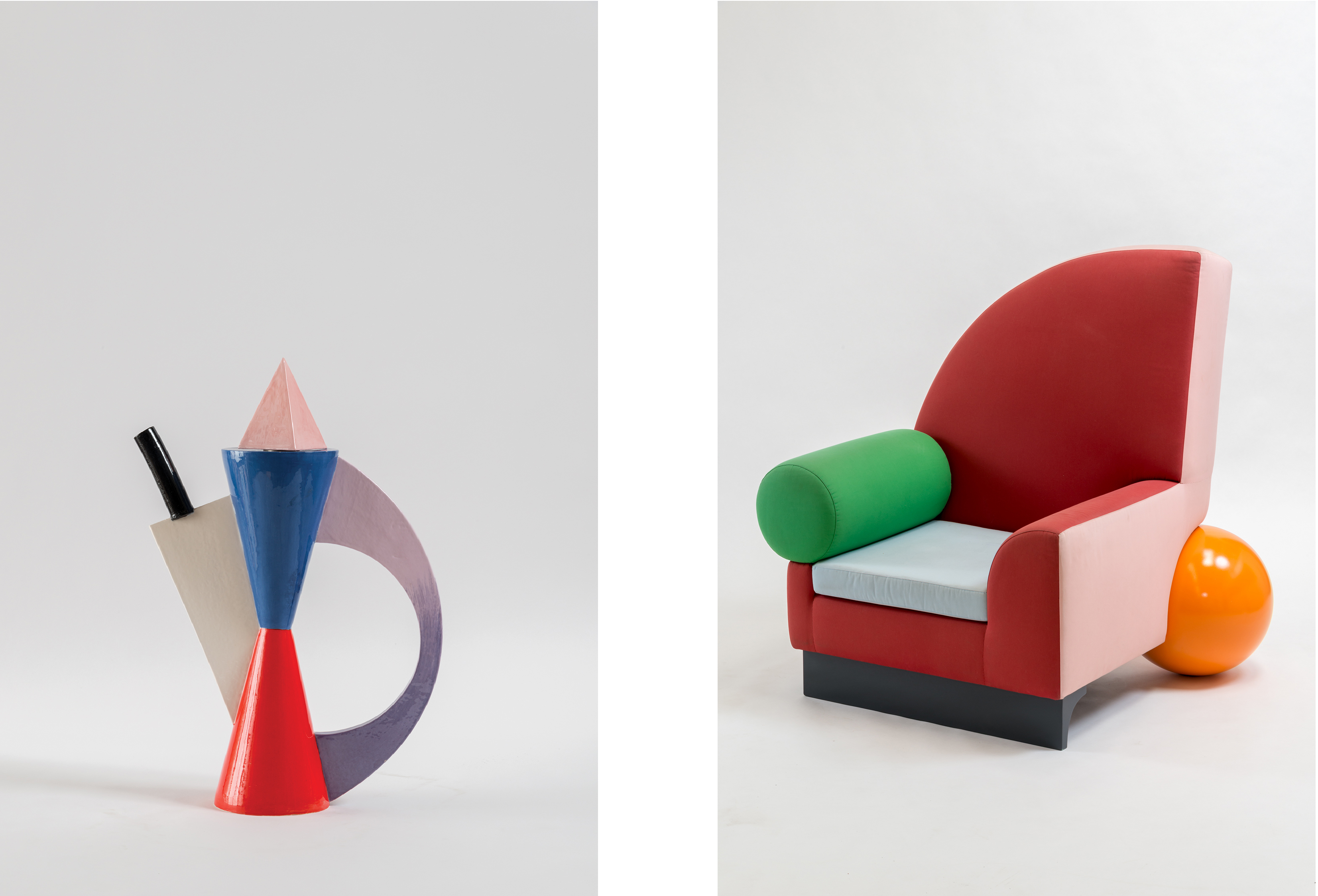Peter Shire, Hourglass Teapot, 1984, ceramic, 23 × 16 × 6 in., image courtesy of the artist; Peter Shire, Bel Air Chair, 1981, 48 ½ x 43 x 48 ½ in., wood, steel, upholstery fabric, courtesy of the artist, photo by Joshua White