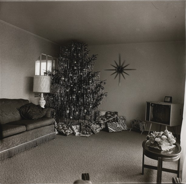 Xmas tree in a living room in Levittown, L.I.