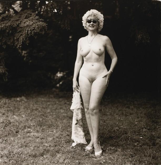 Nudist lady with swan sunglasses, Pa.