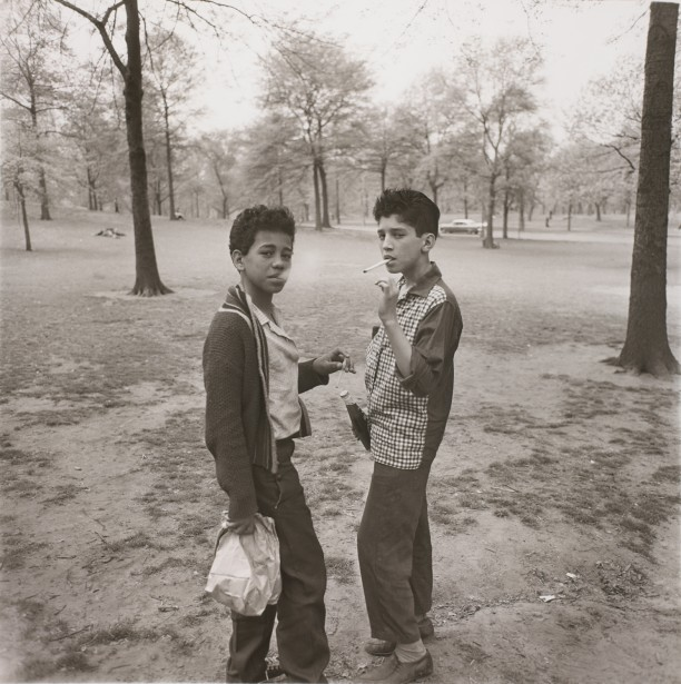 Two boys smoking in Central Park, N.Y.C.