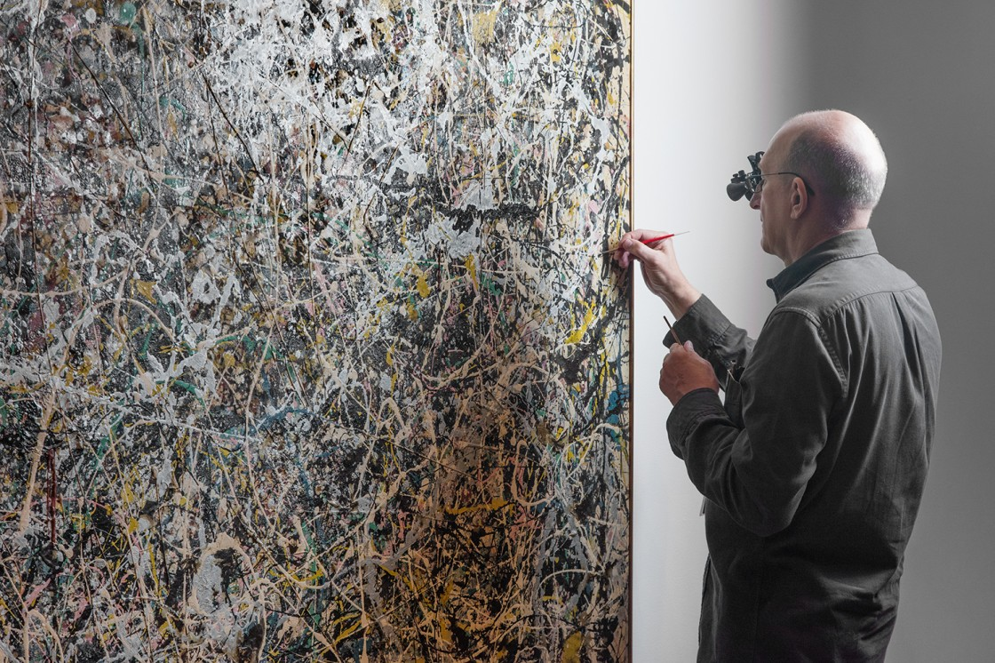Jackson Pollock's Number 1, 1949: A Conservation Treatment Installation View 01