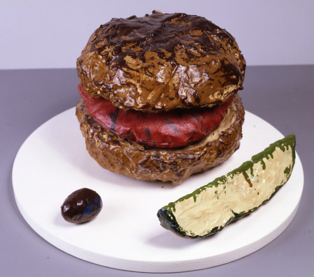 Hamburger with Pickle and Olive