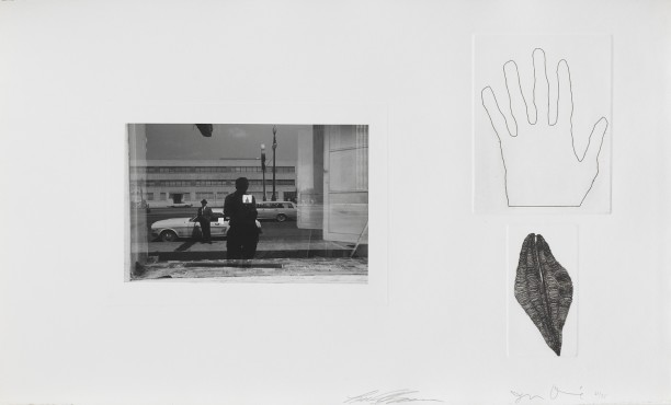 Untitled (Lee Friedlander self portrait with hand and shell)