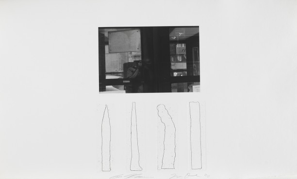 Untitled (Lee Friedlander self portrait with four vertical etchings)