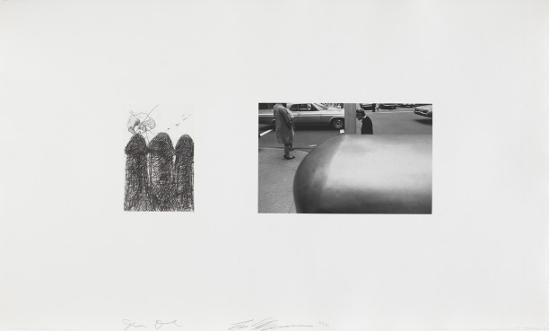 Untitled (etching with photo of street corner)
