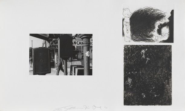 Untitled (street corner and two etchings)