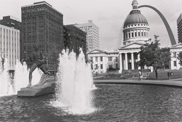 Kiener Memorial Fountain and Runner Statue. Gateway Mall, Saint Louis, Missouri