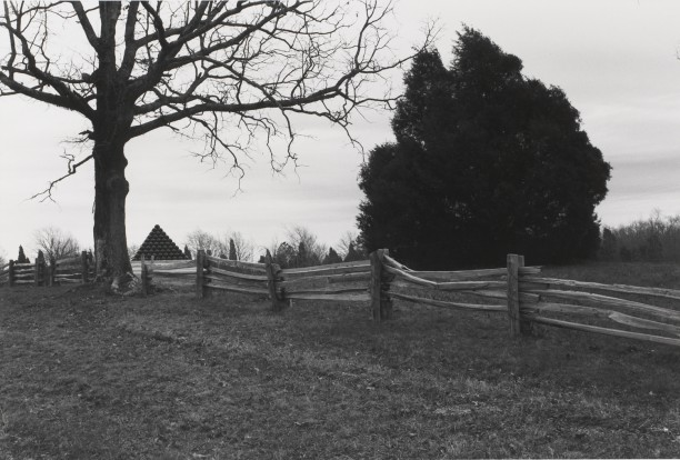 Untitled from Shiloh National Military Park, Tenessee (wooden fence with cannon ball pyramid)