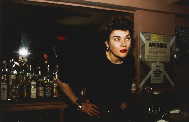 Edwige behind the bar at Evelyne's, New York City