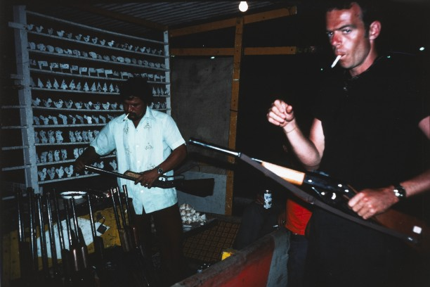 Brian at a shooting gallery, Merida, Mexico