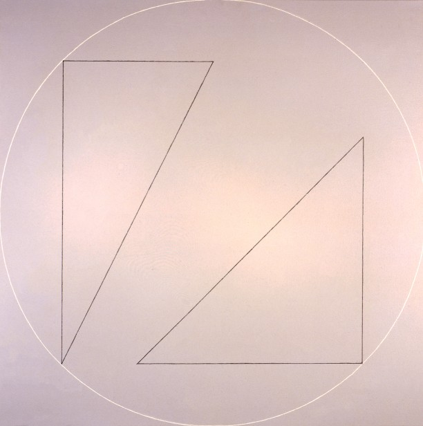 Two Triangles Within a White Line Circle