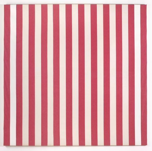 Photo-souvenir: Peinture acrylique blanche sur tissu rayé blanc et rouge