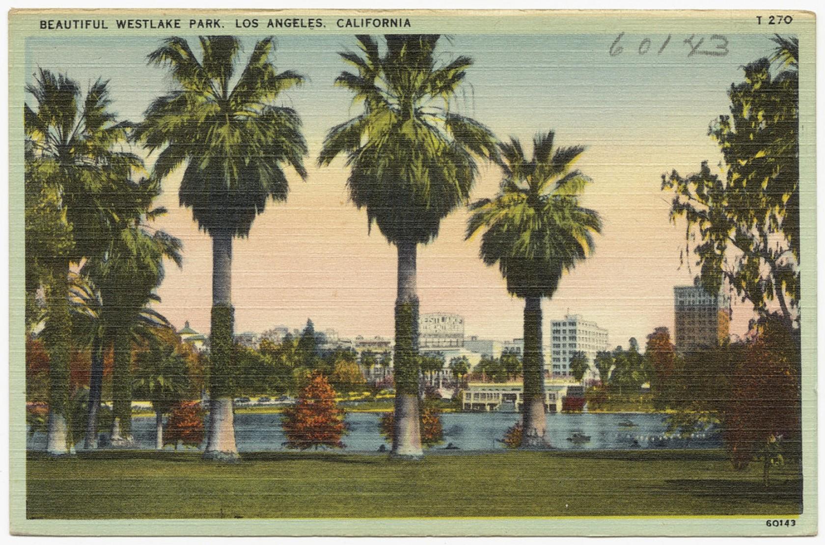 """Beautiful Westlake Park, Los Angeles, California"" by Boston Public Library"