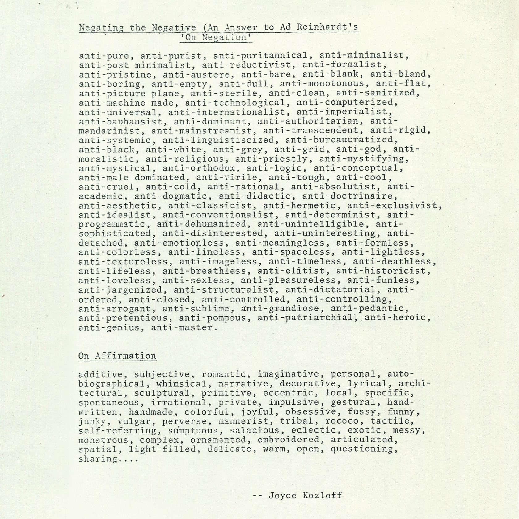 Joyce Kozloff, Negating the Negative (An Answer to Ad Reinhardt's On Negation), 1976 and On Affirmation, 1976.