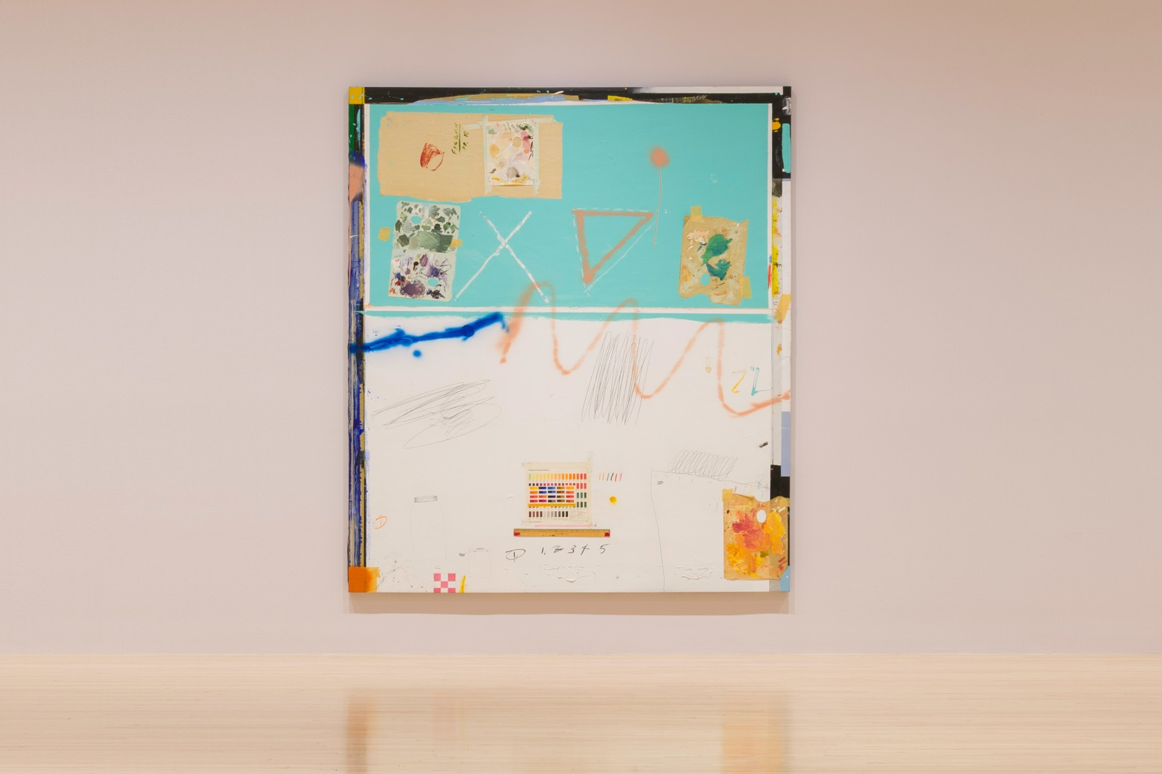 Raymond Saunders, Palette, 1983, oil, enamel, graphite, and oil pastel on canvas, 94 1/2 x 82 1/2 x 1 1/2 in. (240.03 x 209.55 x 3.81 cm). The Museum of Contemporary Art, Los Angeles. Gift of Joseph R. Austin.