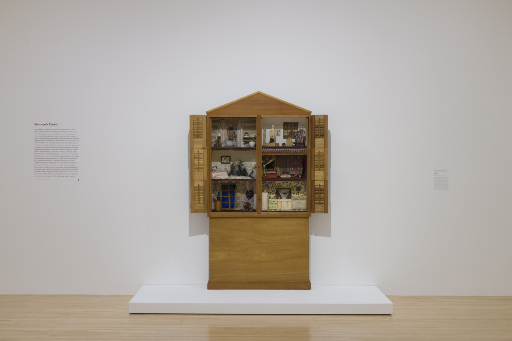 Miriam Schapiro with Sherry Brody, Dollhouse, 1972, wood, mixed media, 79 3/4 × 82 × 8 1/2 in. (202.57 × 208.28 × 21.59 cm). Smithsonian American Art Museum. Museum purchase through the Gene Davis Memorial Fund.