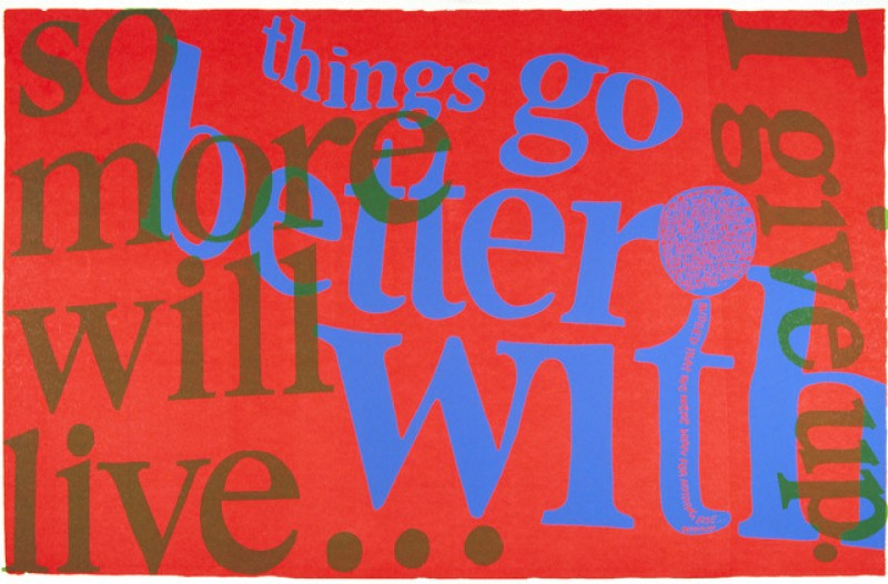 Corita Kent, things go better with, 1967, serigraph on paper, Paper: 23 x 35 in. (58.42 x 88.9 cm). The Museum of Contemporary Art, Los Angeles. Purchased with funds provided by the Drawings Committee.