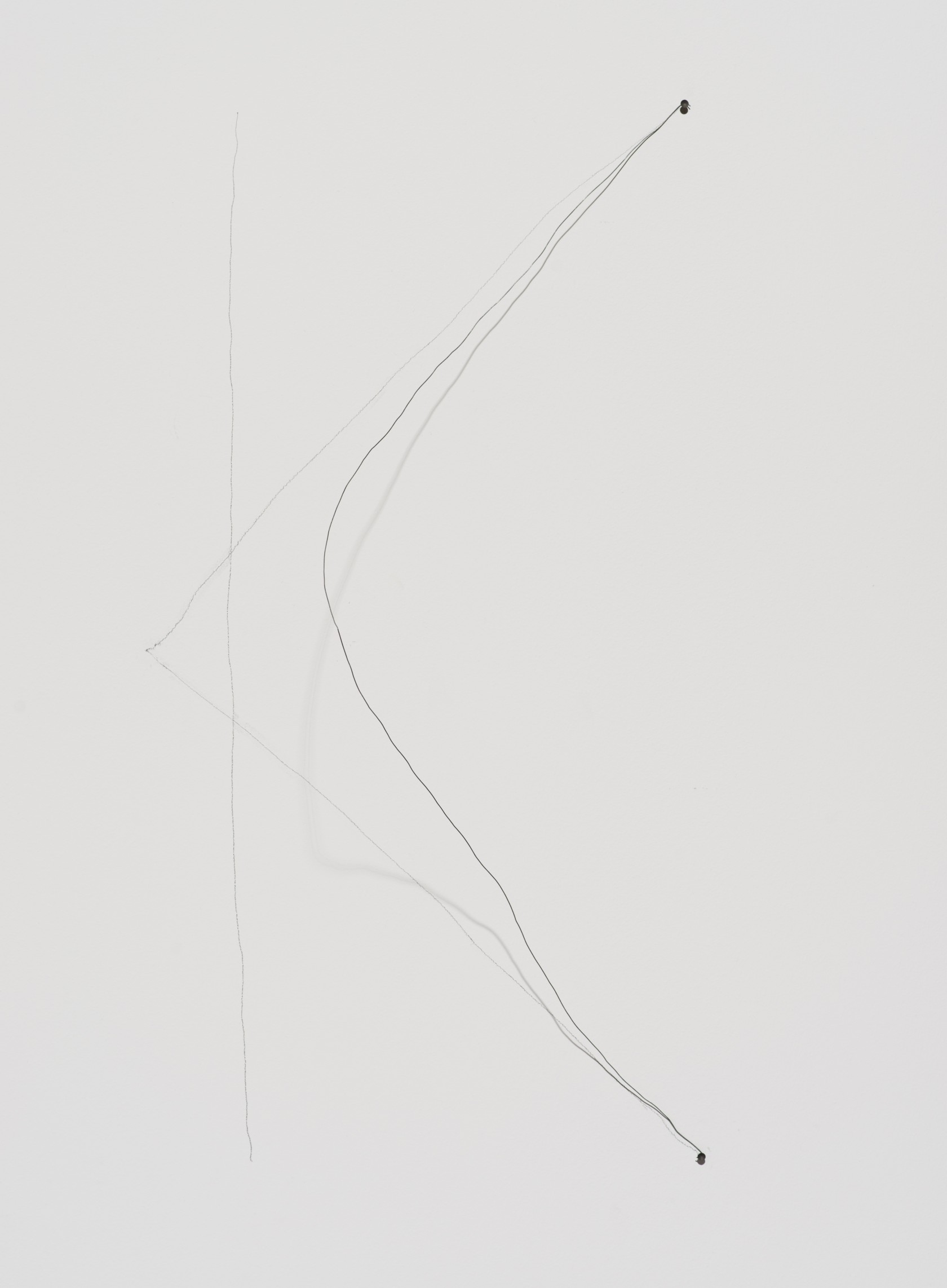 Richard Tuttle, 44th Wire Piece, 1972, wire, template for pencil line, overall 38 1/8 x 19 1/4 x 9 1/4 in. (119.4 x 55.9 x 28.6 cm); wire approx. 58 in. The Museum of Contemporary Art, Los Angeles. Gift of Lannan Foundation.