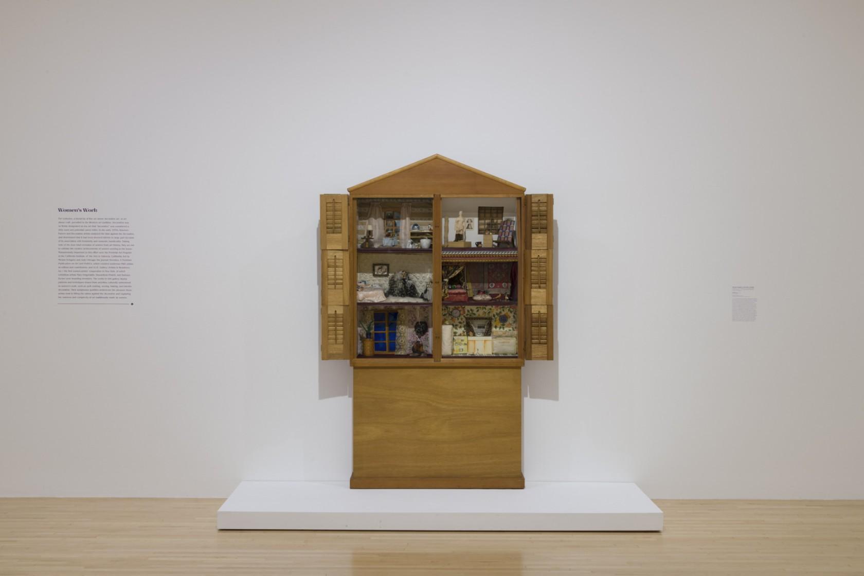 Miriam Schapiro with Sherry Brody, Dollhouse, 1972, wood, mixed media, 79 3/4 × 82 × 8 1/2 in. (202.57 × 208.28 × 21.59 cm). Smithsonian American Art Museum. Museum purchase through the Gene Davis Memorial Fund.