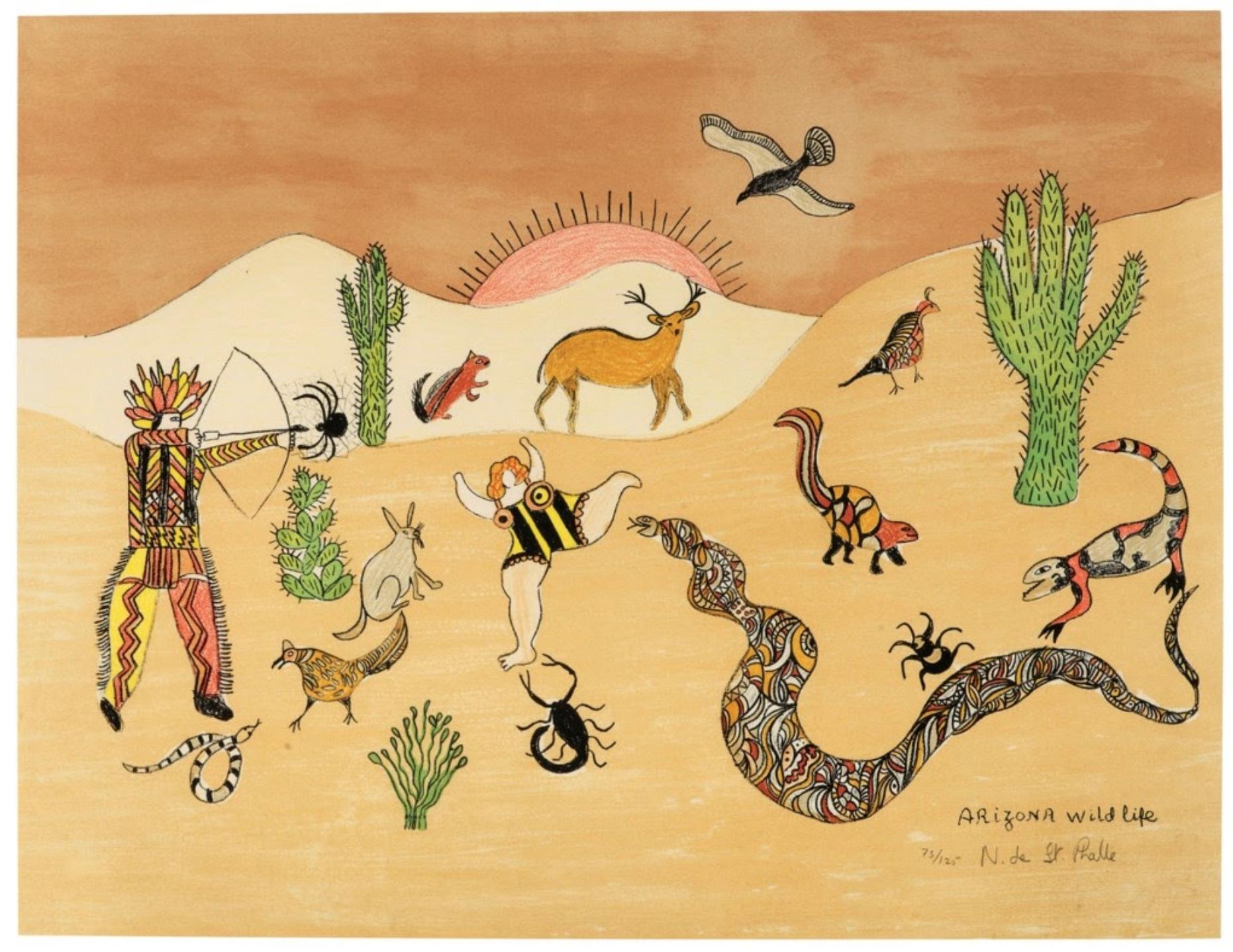 Niki de Saint Phalle, Arizona Wildlife, 1982,Lithograph.